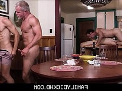 Step Dad And Grandpa Group Sex With Two Twink Step Sons During Family Bonding Time