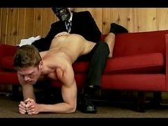 Hot naked gay young guy man handled by masked gay guy with cock to play