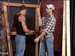 Fit gay worker getting ass fucked and jizzed
