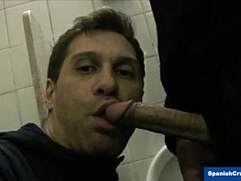 Dude serviced in a Restroom
