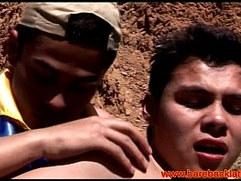 Great outdoor latino gays fuck close up